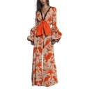 Trendy Orange Animal Print V-Neck Contrast Trim Bell sleeve Bow Embellish Straight Pants Jumpsuits for Women
