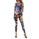 Halloween Stylish Horrible Print Hot Sale Long Sleeves High Neck Fitted Jumpsuits
