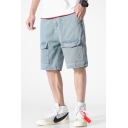 Men's Summer New Stylish Light Blue Flap Pocket Front Casual Denim Shorts