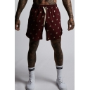 Men's Summer Trendy All-over Printed Drawstring Waist Quick-drying Athletic Shorts