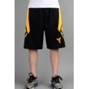 Men's Popular Fashion Colorblock Logo Printed Elastic Waist Black Casual Loose Basketball Shorts