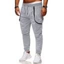Designer Fashion Solid Color Zipper Embellished Drawstring Waist Casual Sports Sweatpants with Side Pockets for Men