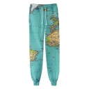 New Stylish World Map 3D Printed Drawstring Waist Casual Cotton Joggers Sweatpants