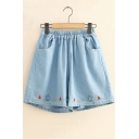Girls Summer Lovely Watermelon Embroidery Elastic Waist Loose Fitted Denim Shorts