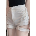 Girls Sexy Multi-Way Zipper Closure Lace-Up Side Slim Fitted Denim Shorts