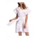 Womens Hot Fashion White V Neck Beading Embellish Ruffle Hem Tie Waist Mini Dress for Birthday Party