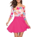 Summer Hot Fashion Floral Print Round Neck Three-Quarter Sleeves High Waist Mini Pleated Combo Dress