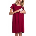 Summer Fashion Plain Short Sleeve Button Back Functional  Loose Midi Maternity Nursing Dress for Breastfeeding Mothers