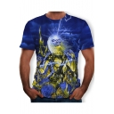 Mens Cool Heavy Metal Rock Style Skull Printed Round Neck Short Sleeve Blue T-Shirt