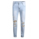 Men's Cool Fashion Solid Color Destroyed Ripped Jeans in Light Blue with Holes