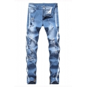 Men's New Fashion Stripe Printed Zipped Cuffs Destroyed Ripped Jeans