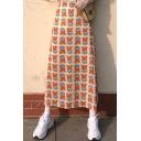 Summer Hot Stylish Sweet Womens Floral Print High Waist Maxi Skirt