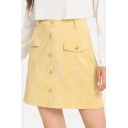 Yellow Button Down Pocket Embellished High Waist Mini A-Line Skirt for Women