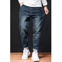 Men's New Fashion Letter Embroidery Detail Casual Loose Tapered Jeans