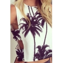 Womens Summer Holiday Cactus Palm Printed Hollow Out Side Crop Tank Top