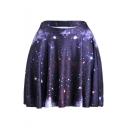 Womens Hot Fashion High Waist Purple Galaxy Print Pleated Mini Skater Skirt