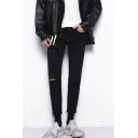 Guys Popular Fashion Simple Plain Knee Cut Black Slim Fit Jeans
