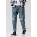 Men's New Stylish Simple Plain Rolled Cuffs Loose Fit Blue Straight Ripped Jeans