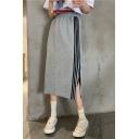 Summer Trendy Hot Sale Stripped Side Elastic Waist Split Side Maxi Skirt