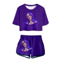 Cool Purple Bleeding Girl Pattern Short Sleeve Crop Tee with Loose Dolphin Shorts Two-Piece Set
