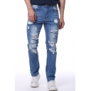 Men's New Fashion Simple Plain Washed Slim Fit Popular Ripped Jeans