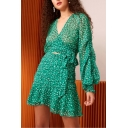 Summer Hot Fashion High Waist Floral Print Ruffle Hem Mini Fitted A-Line Skirt