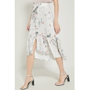 Summer Trendy High Waist White Floral Print Vintage Asymmetric Ruffle Hem Midi Skirt