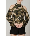 Fashion Womens Cool Street Style Cold Shoulder Halter Neck Cutout Elastic Cuff Long Sleeve Camo Blouse