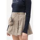 Summer Fashion Check Print Beading Embellished Pocket Detail A-Line Mini Skirt