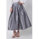 Trendy Fancy High Waist Plain Pleated Midi Puffy Skirt for Women