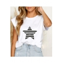 Summer Hot Stylish Solid Color Star Letter Printed Cap Sleeve Casual Blouse T-Shirts