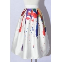 Summer Hot Stylish White High Waist MultiColor Graffiti Midi Puffy Shirt