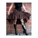 New Arrival Womens Vintage Brown Ruffle Hem Metal Embellished Chic Simple Loose Midi Skirt