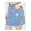 Fashion Womens Sweet High Waist Letter Print Striped Ripped Tassel Hem A-line Mini Denim Skirt