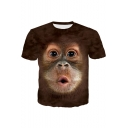 Funny 3D Gorilla Animal Printed Khaki Round Neck Short Sleeve T-Shirt