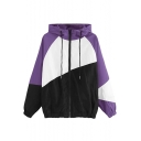 Womens New Trendy Color Block Long Sleeve Zip Up Drawstring Hooded Sport Loose Jacket Coat
