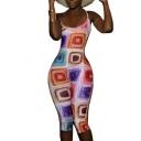 Womens Summer Sleeveless Halter Neck Crisscross Back Geometric Printed Skinny Fitted Rompers