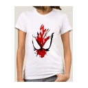 Cool Spider Web Printed Round Neck Short Sleeve White Fitted T-Shirt