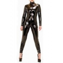 Womens Hot Sexy Black High Neck Long Sleeve Zip-Front Patent Jumpsuits for Nightclub Show