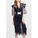 New Stylish Halloween Spider Belt Mesh Patch Sleeve V Neck Split Front Asymmetric Hem Midi Dress