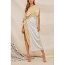 Womens Hot Trendy One Shoulder Colorblock Split Side Patch Midi Asymmetric Dress