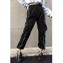 Womens Trendy Cool Street Black Elastic Waist Pocket Side Contrast Trim Elastic Cuff Velvet Cargo Pants