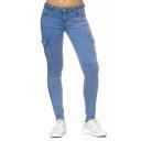 New Trendy Plain Multi Pocket Slim Leg Fitted Denim Pants