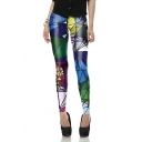 New Arrival Elastic Waist Geometric Printed Skinny Pencil Legging Pants