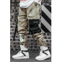 Men's Popular Fashion Cool Camouflage Letter OFF Printed Buckle Strap Flap Pockets Trendy Casual Cargo Pants