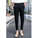 Guys Basic Fashion Simple Plain Straight Tailored Suit Pants Cropped Dress Pants