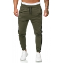 Men's Hot Fashion Colorblock Patched Side Logo Embroidery Drawstring Waist Casual Slim Jogging Sweatpants