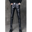Men's Cool Fashion Solid Color Crisscross Detail Black Leather Biker Pants Pencil Pants
