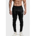 Men's New Fashion Letter Printed Tape Side Drawstring Waist Casual Slim Jogging Pants Sports Pencil Pants