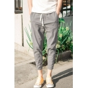 Men's Summer New Fashion Simple Plain Drawstring Waist Cropped Tapered Pants